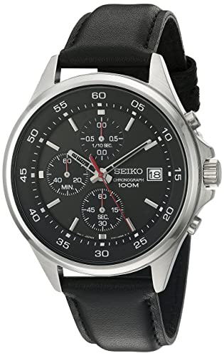 Seiko Men's 'Special Value' Quartz Stainless Steel and Leather Dress Watch, Color:Black (Model: SKS495)