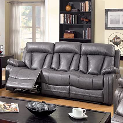Furniture of America Kerry Recliner Sofa with Power-Assist System