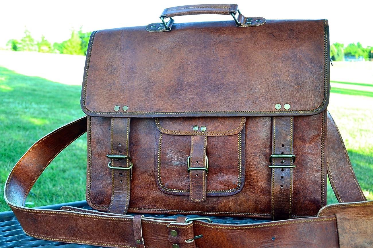PL 16 Inch Vintage Leather Messenger Bag Briefcase / Fits upto 15.6 Inch Laptop 0