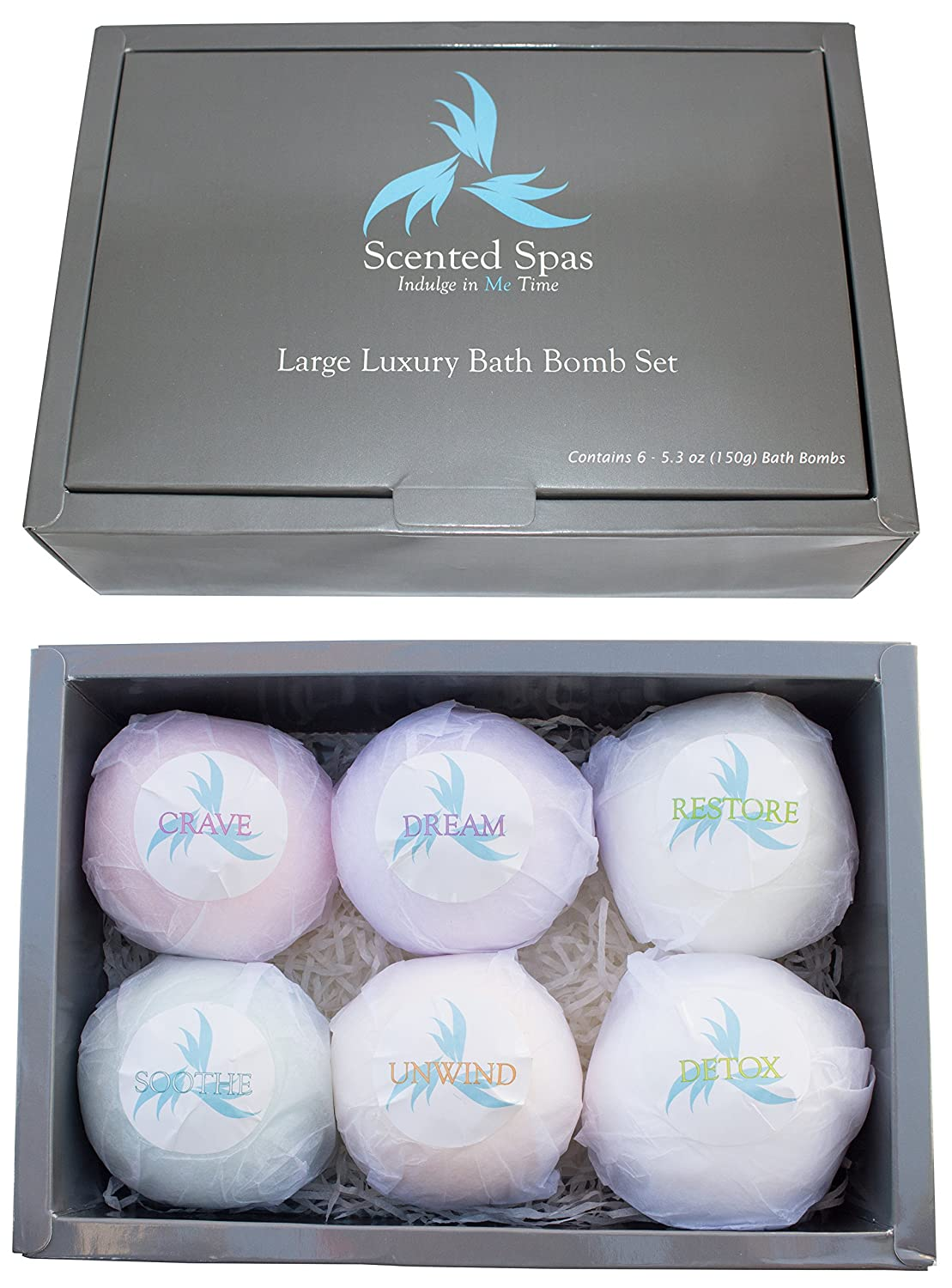 Large Luxury Bath Bombs; Set of 6 - 5.3oz (150g) Bombs - Extra Big For Huge Tubs - Vanilla, Lavender, Eucalyptus, Peppermint, Honeysuckle, Lemon - Great Lush Gift Set For Mother