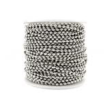 CleverDelights Ball Chain Roll - 100 Feet - Antique Silver (Platinum) Color - 2.4mm Ball - #3 Size (Color: Silver, Tamaño: 2.4mm)