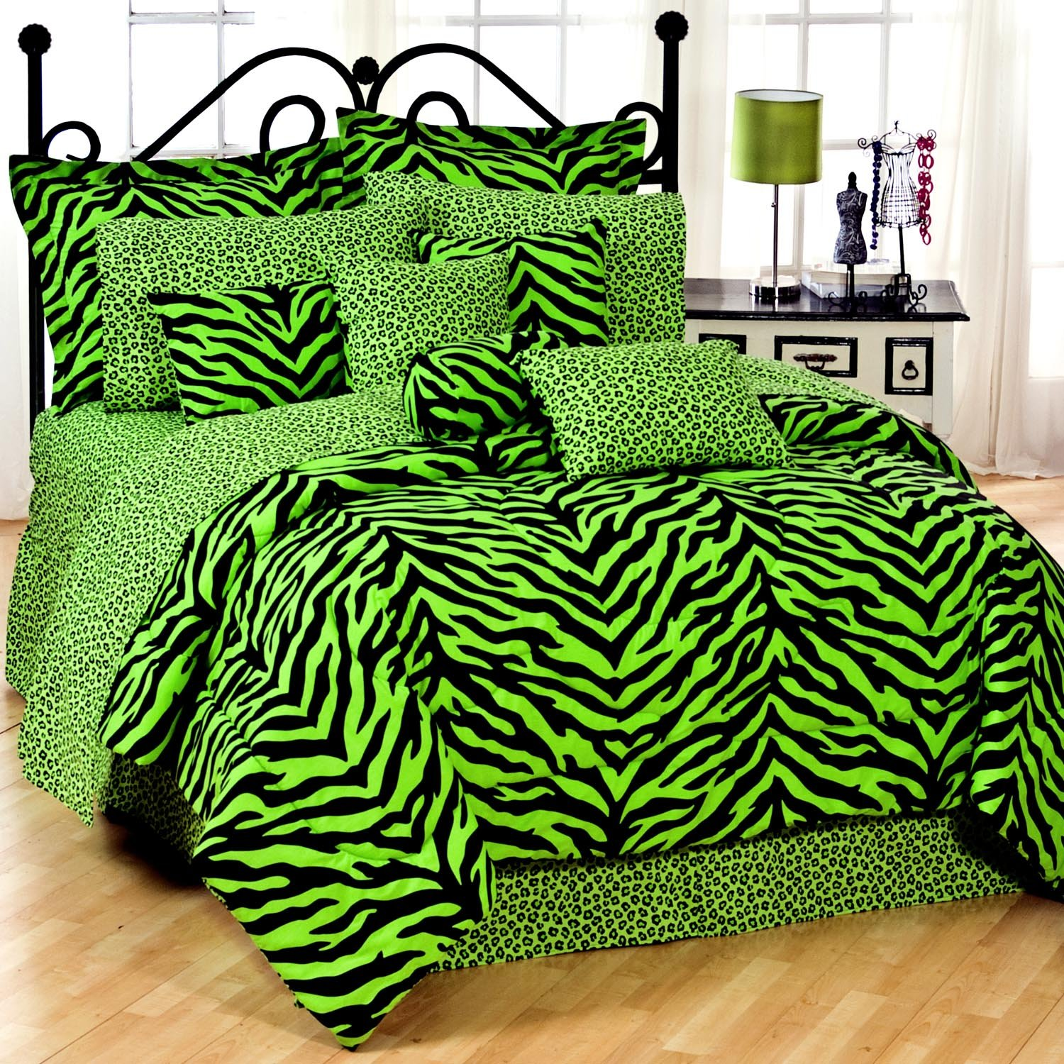 Zebra print bedroom set - Black Lime Green Zebra Print Bed In A Bag Set