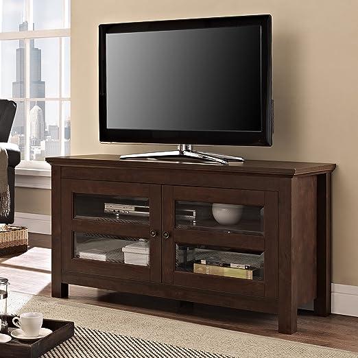 Walker Edison 44-Inch Full-Door Wood TV Console, Traditional Brown