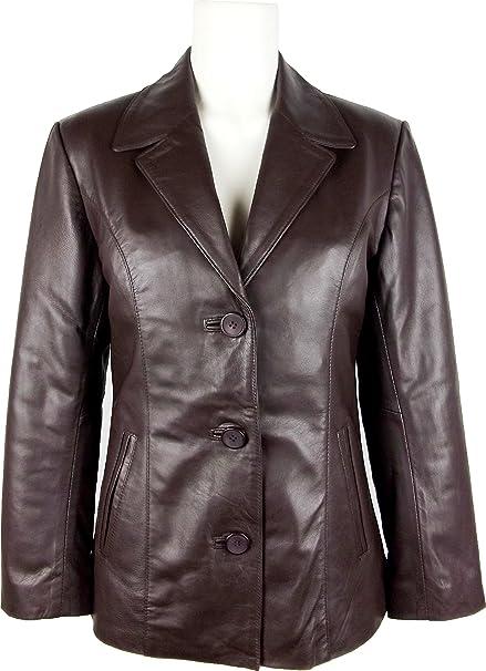 UNICORN Damen Klassische Anzug Blazer Echtleder Jacke - Braun #H9