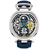 Stührling Original Mens Analog Skeleton Watch - Silver Dial with Black Gold and Blue Accents Blue Leather Band with Deployant Clasp - AM/PM Sun Moon Indicator, Dual Time, Mens Watches 889 Collection (Color: Silver/Blue)