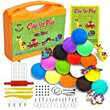 KRAFTZLAB Nontoxic Air Dry Clay Kit | Ideal Modeling Clay for Kids| 65 Piece Molding Clay Craft Kit | Super Soft Clay | 15 Colors |STEM Educational Set - Easy Instructions - Gift for Boys & Girls 5+