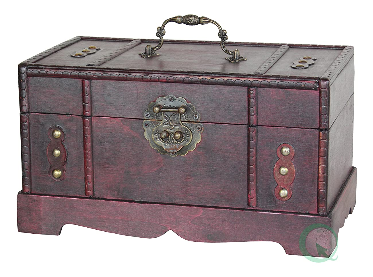Antique Wooden Trunk, Old Treasure Chest 0
