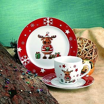 Weihnachtsdekor f/ür 6 Personen Kaffeetasse und Untertasse im Set Van Well Hirsch grau Kaffeeservice edles Marken-Porzellan Kuchenteller 18-tlg