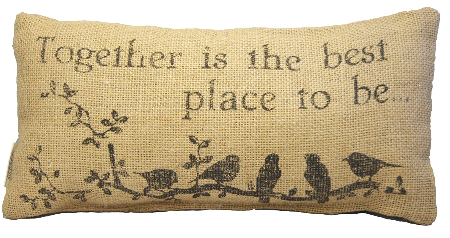 Together is the Best Place to Be – French Flea Market Burlap Accent Throw Pillow – 12-in x 6-in – Throw Pillow Covers