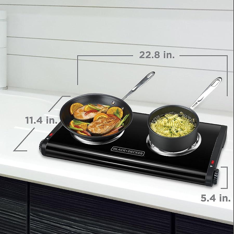BLACK+DECKER Double Burner Portable Buffet Range, Black, DB1002B via Amazon