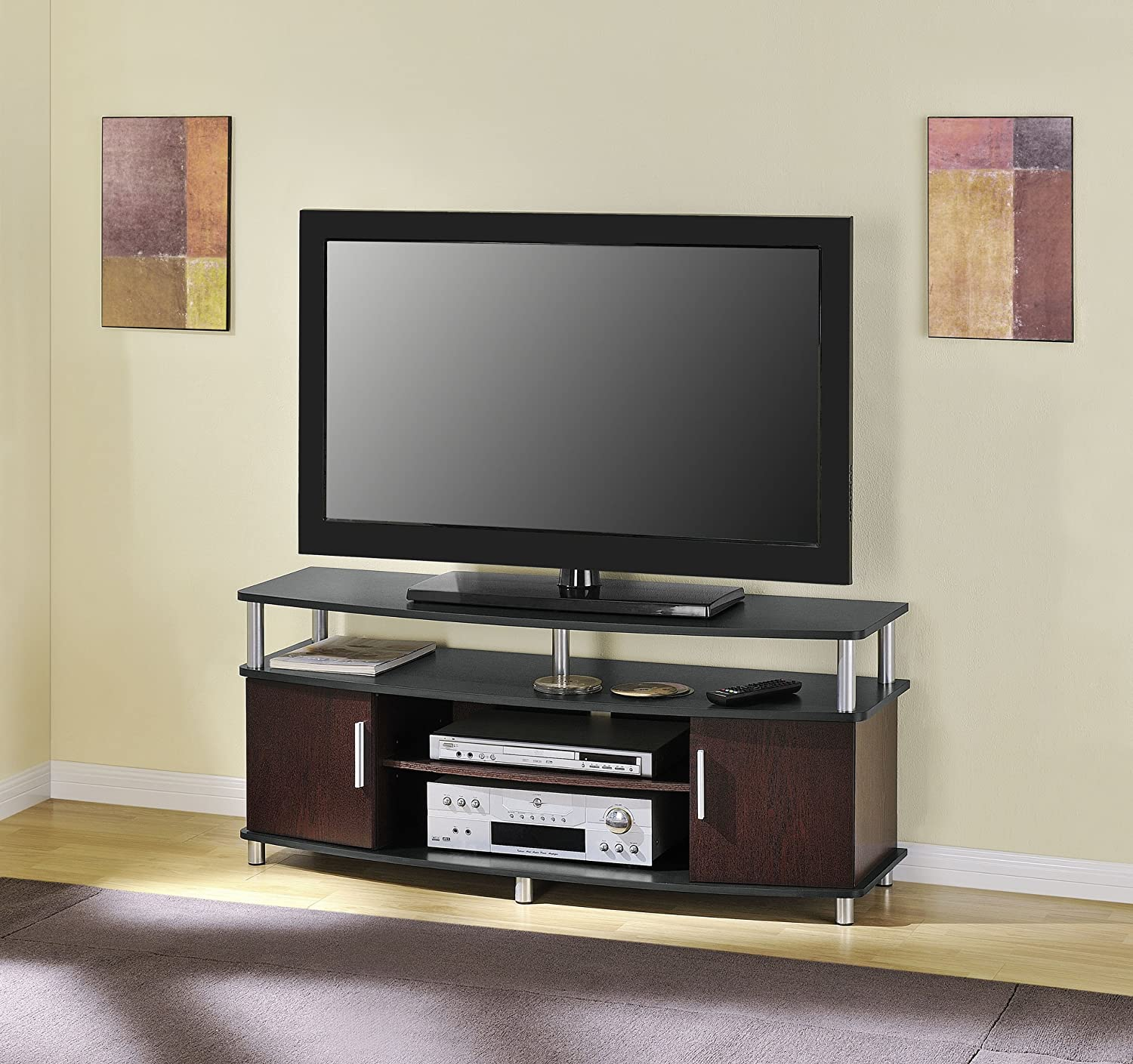 altra furniture carson 48 inch tv stand black and cherry new