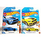 Hot Wheels 50th anniversary Muscle Mania Gift Pack 2018 Ford Mustang GT [Blue] 9/10 (216/365), & 2015 Ford Mustang GT Convertible [Yellow] 2/10 (168/365) (Color: Blue, Yellow, Tamaño: 1:64)