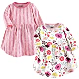 Touched by Nature Baby Girls' Organic Cotton Dress, Botanical Long Sleeve 2-Pack, 5 Toddler (5T)
