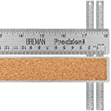 Breman Precision Stainless Steel Metal Rulers I Straight Edge Rulers with Inch and Metric Graduations for School Office Engineering Woodworking I Flexible with Non-Slip Cork Back I 18-Inch 2-Pack (Color: 18