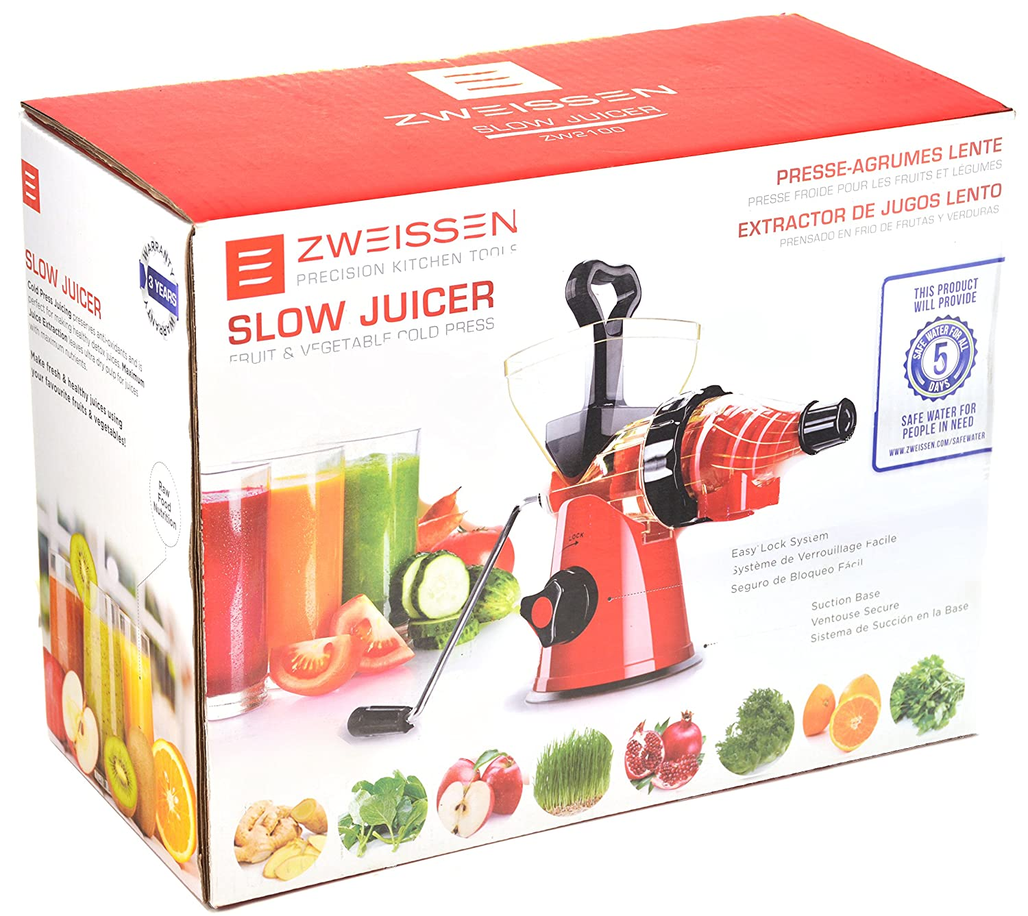 Slow Juicer And Cold Press : ZWEISSEN Hand Operated Fruit vegetable Masticating Slow ...
