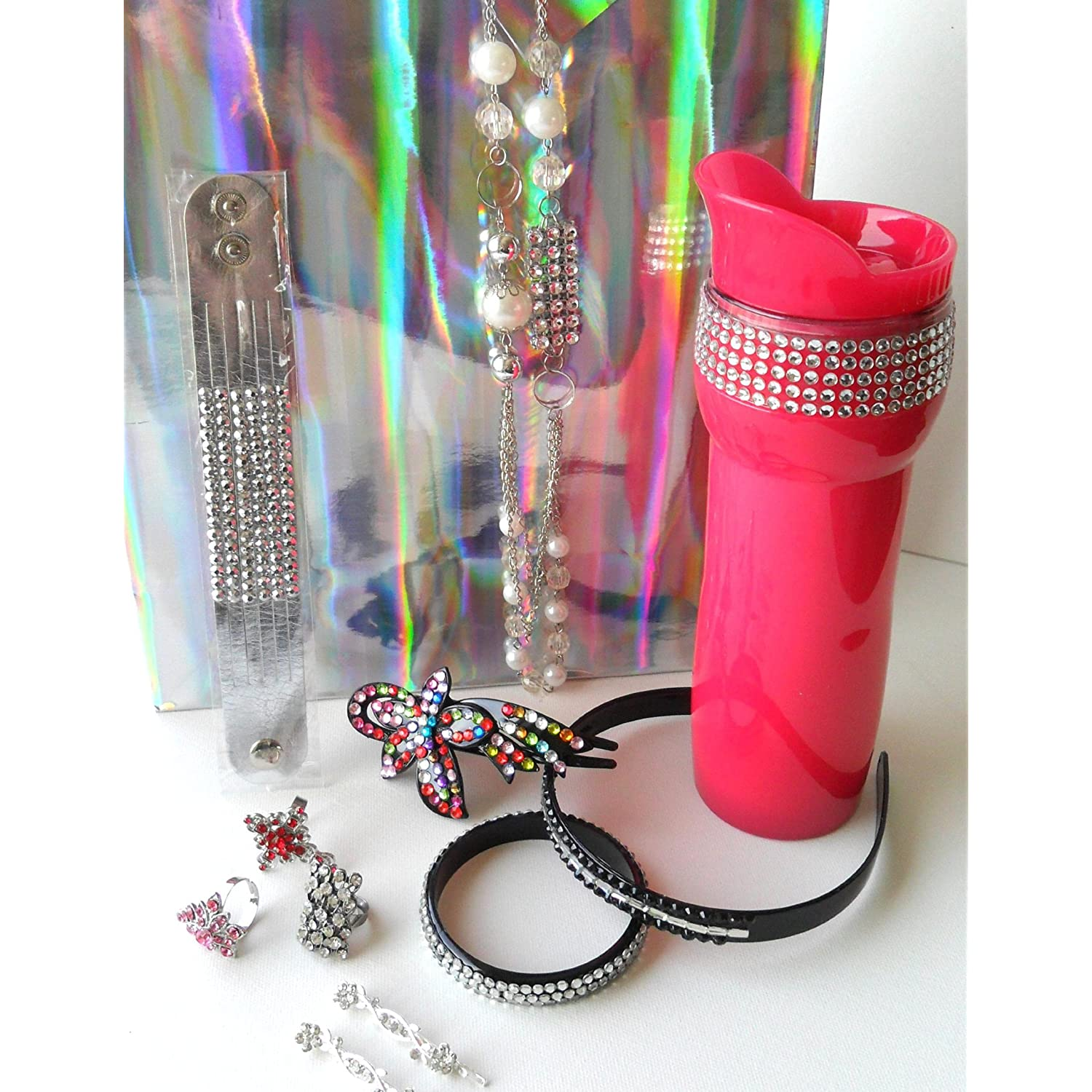 Rhinestone Bling Bling Gift Set 11 Pieces with Hot Pink Travel Coffee Tea Mug,Bracelet, Necklace &#038; Earrings,Bling Rings