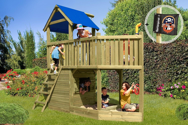 Gartenpirat Spielturm Piratenschiff Spielhaus aus Holz günstig online kaufen