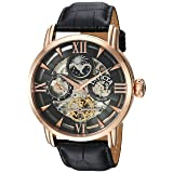 Invicta Men's 'Objet d'Art' Automatic Stainless Steel and Leather Casual Watch, Color:Black (Model: 22653) (Color: Black/Rose/Black)
