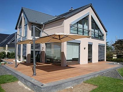 –Sombrilla Stabielo Exklusiv Color–Beige–Plaza 300cm x 300cm diámetro 8piezas–Sol de pantalla Fácil de abrir, Incline y el giro–100%