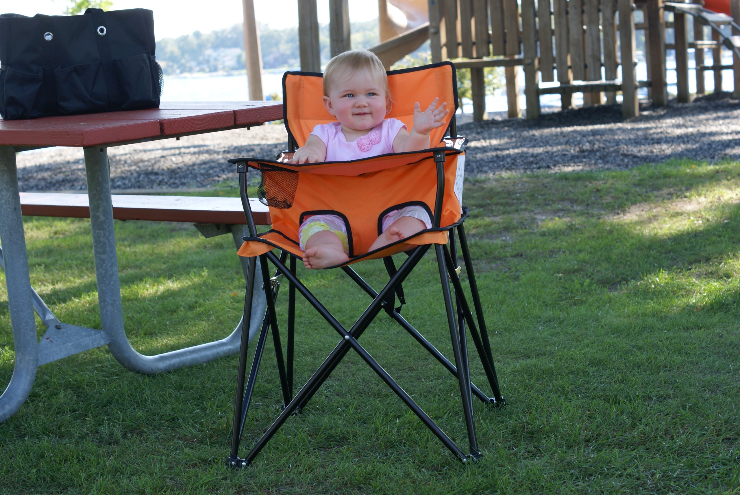 ciao baby orange portable highchair perfect for travel outdoors camping hb2002 ebay. Black Bedroom Furniture Sets. Home Design Ideas