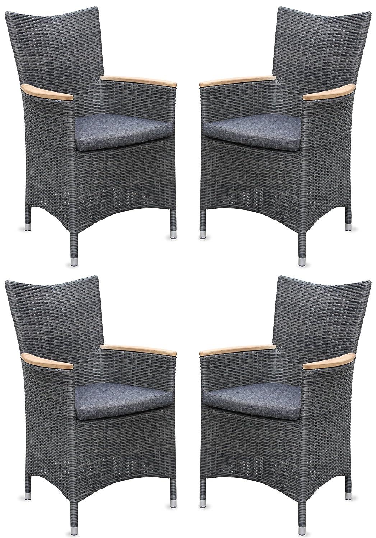 4x Hochwertiger Polyrattan Gartenstuhl mit Teakarmlehnen Teak Sessel Rattan Stuhl Gartenstühle Gartenmöbel