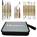 Skilled Crafter Clay Modeling Tools with Zip-Up Case. 18 Double Ended Quality Carvers & Modelers for Sculpting, Modeling, Trimming & Pottery Carving. Best for Sculpey, Polymer, Ceramics, Dough, Wax (Color: with Zip-Up Case)