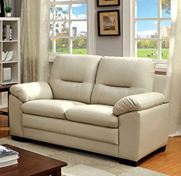Furniture of America Stewart Leatherette Love Seat, Ivory