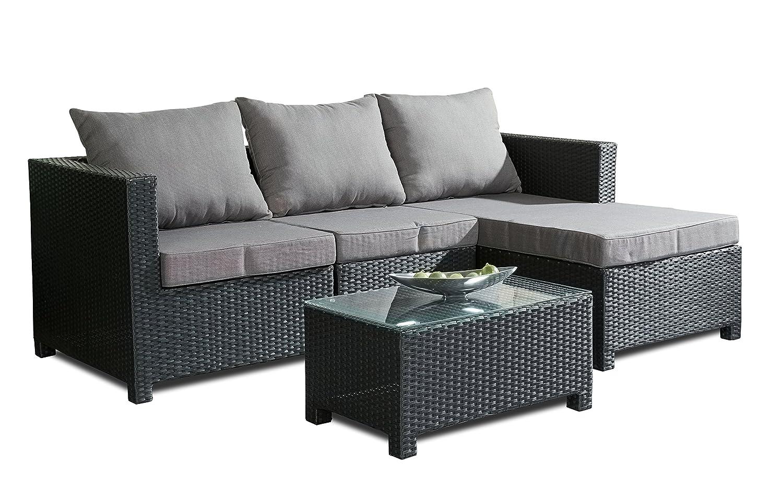Hochwert. Polyrattan Sitzgruppe Schwarz inkl Kissen Stahl Gestell Lounge Garten Sofa