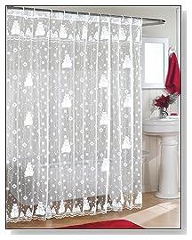 Christmas Snowman Lace Shower Curtain