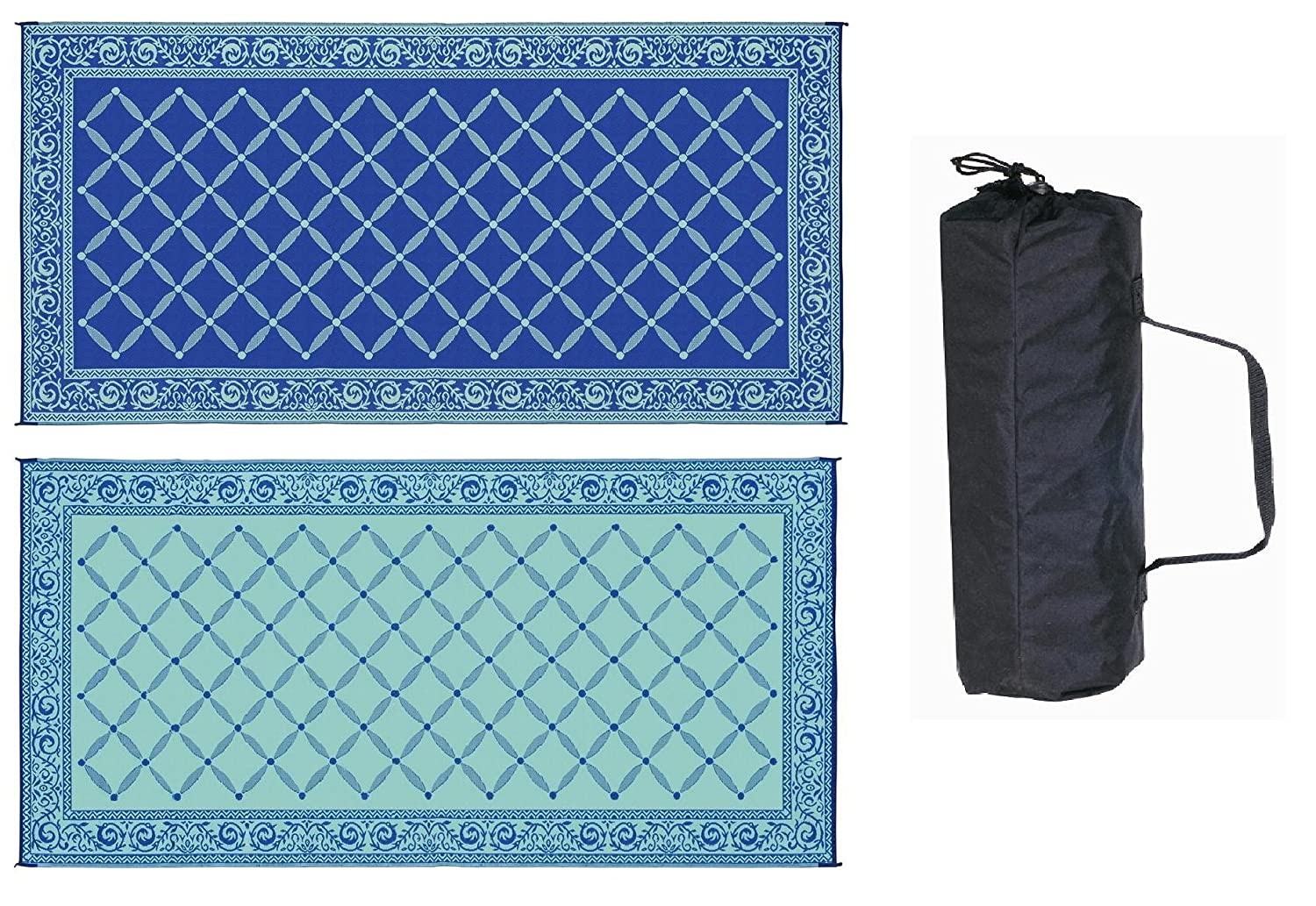 RV TRAILER PATIO BEACH CAMPING REVERSIBLE OUTDOOR MAT 9x18