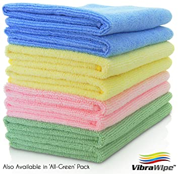 f7530c995712 VIBRAWIPE MICROFIBER CLOTH - Pack of 8 Pieces (4 Colors) Microfiber  Cleaning Cloths