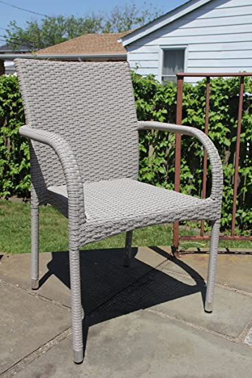 Patio Resin Outdoor Wicker Side Arm Chair. Garden, Sunroom, Deck, Balcony Furniture. Gray Color