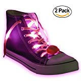 Nylon LED Light Up,Glow in the Dark,Glowing Shoelaces by Maxstrapz in 8 Different Colors,White,Blue,Pink,Red,Orange,Yellow,Green and Multi Color,3 Flash Modes,for Parties,Running,Walking (pink)