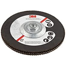 "3M Flap Disc 577F, T27, Alumina Zirconia, Dry/Wet, 7"" Diameter, 60 Grit, 5/8""-11 Thread Size (Pack of 1)"