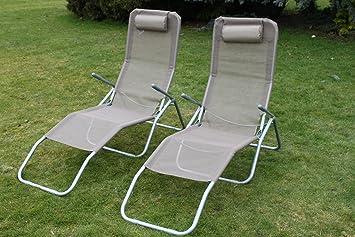 Pack de 2 tumbonas reclinables Siesta en textileno tweed con reposacabezas acolchado