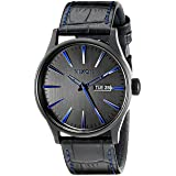Nixon Men's A1052153 Sentry Black Stainless Steel Watch with Genuine Leather Band (Color: Navy Gator, Tamaño: One Size)