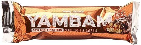 Body Attack YAMBAM Protein Bar, Peanut Butter Caramel, 15x 80g, 1er Pack (1x 1.2kg)