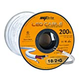 18AWG Low Voltage LED Cable, 3 Conductor, Outdoor Rated, Jacketed in-Wall Speaker Wire UL/cUL Class 2, Sunlight Resistant (200ft) (Tamaño: 200 ft. Spool)