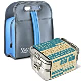 Stainless Steel Bento Box Lunch Box Set With Black Neoprene Lunch Bag, Large Metal 3 Tier Tiffin Food Container Lunchbox For Boys Girls Teens Kids & Adults, Eco Friendly Meal Prep Storage, School/Work (Color: Silver, Tamaño: Bento Box + Lunch Bag (Charcoal & Blue))