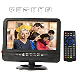 GJY 9-Inch Portable TV, Features ATSC TV Tuner+NTSC,USB/TF/Headphone Inputs, Full Function Remote with mini TV,Automotive Mobile TV (Color: black, Tamaño: 9.8inch)