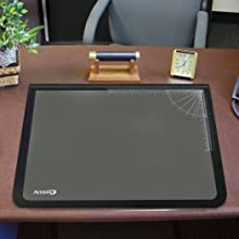 "Artistic Office Products 20"" x 31"" Logo Pad Lift-top Desktop Organizer Desk Mat, Black/Clear"