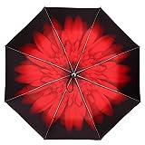 Auto Open & Close Cute Travel Umbrella Auto Foldable Rain Windproof Anti-UV Flower Umbrella for Easy Carrying Auto Red (Color: Auto-Red)