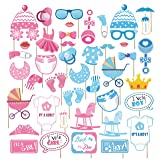 Kristin Paradise 44Pcs Gender Reveal Photo Booth Props with Stick - Boy or Girl Theme Selfie Props - Baby Revealing Party Supplies - He or She Photography Backdrop Decorations (Color: Gender Reveal Photo Booth Props)