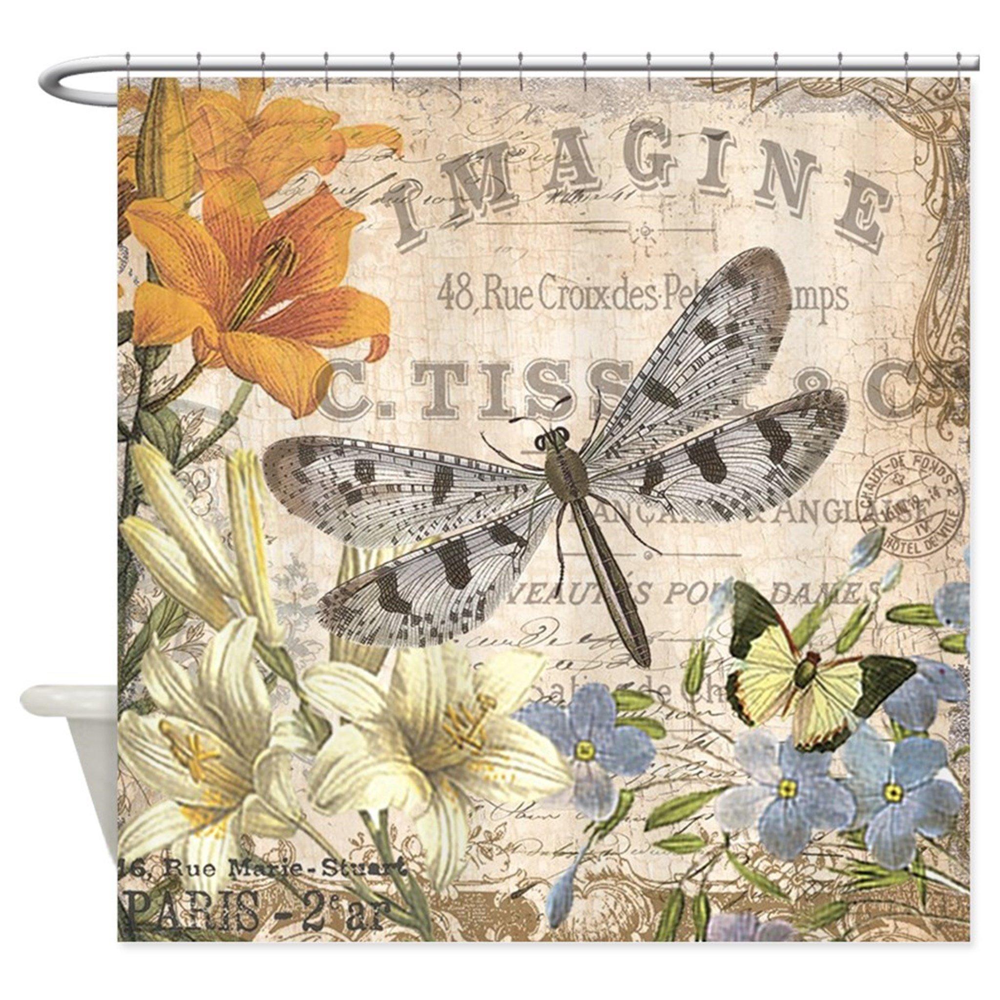 Hanhaoki Modern Vintage French Dragonfly Shower Curtain 72