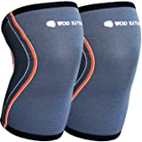 WOD Nation Knee Sleeves for Weightlifting (1 Pair) Premium Support & Compression - Powerlifting & Crossfit - 5mm Neoprene Sleeve for The Best Squats - Fits Both Women & Men (Color: Grey Pair, Tamaño: Pair (2) Medium)