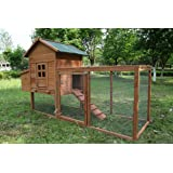 ECOLINEAR Outdoor 80'' Wooden Chicken Coop Nest Box Hen House Poultry Pet Hutch Garden Backyard Cage (Chicken Coop) (Tamaño: Chicken Coop)