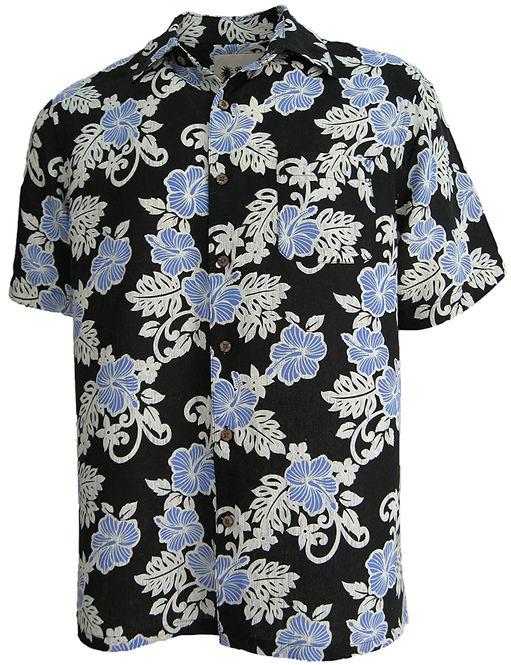 Mens Hawaiian Silk Camp Shirt Black Blue Hibiscus Casual 0