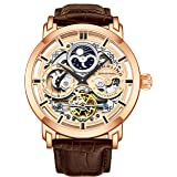 Stuhrling Original Mens Automatic-Self-Wind Luxury Dress Skeleton Dual Time Gold-Tone Wrist-Watch 22 Jewels 47 mm Stainless Steel Case (Rose Gold) (Color: Rose Gold)