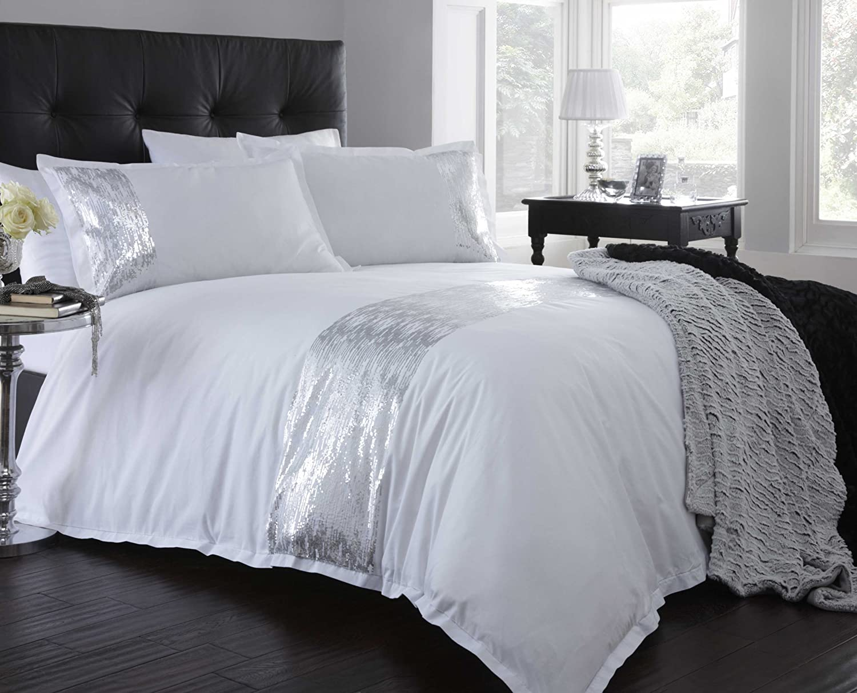 white and silver bedding portfolio shimmer white silver