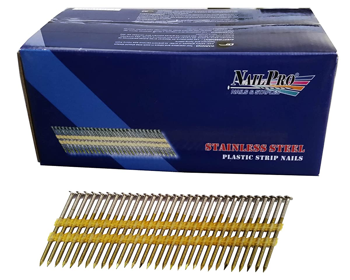 NailPro 2 Inch by 0.113 - 1000 Pcs. per Carton - Type 304 Stainless Steel - 21 Degree (Fits 20-22 Degree Nailers) Plastic Strip - Ring Shank - Full Head Nails